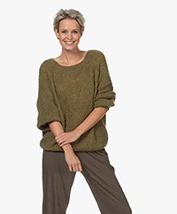 indi & cold Ajour Knitted Boat Neck Sweater - Khaki