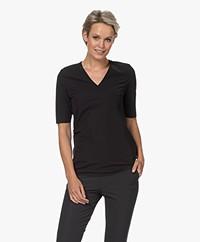 JapanTKY Lyo Travel Jersey V-neck T-shirt - Black