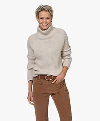 Drykorn Arwen Rib Knit Turtleneck Sweater - Beige Melange