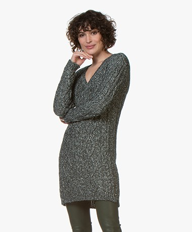 Majestic Filatures Long V-neck Cable Knit Sweater - Forest
