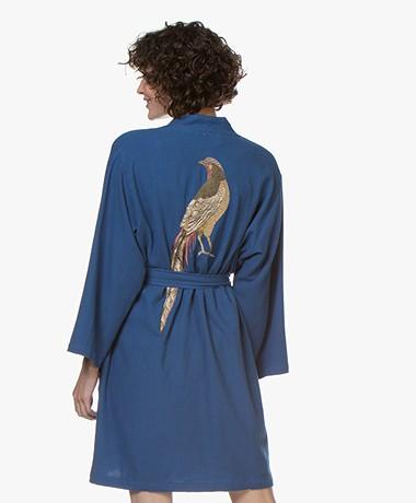 HAMMAM34 The Pheasant Embroidered Cotton Kimono - Blue