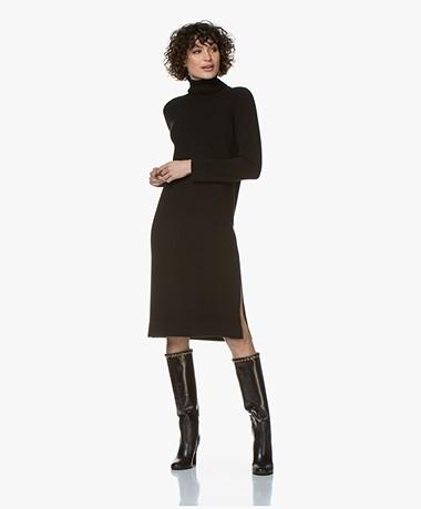 Repeat Cashmere Knitted Turtleneck Midi Dress - Black