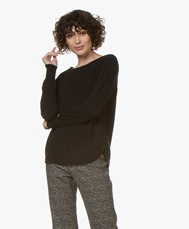 Repeat Cashmere Sweater with Destroyed Details - Black
