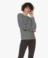La Petite Française Ticket Striped Long Sleeve - Marine/Ecru