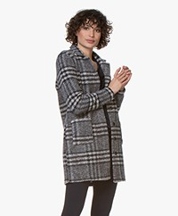 Belluna Panorama Checkered Blazer Cardigan - Grey