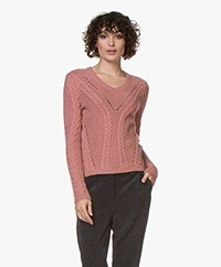 indi & cold Viscose Blend Cable Knit Sweater - Maquillaje
