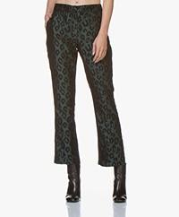 ANINE BING Cindy Leopard Jacquard Pants - Emerald
