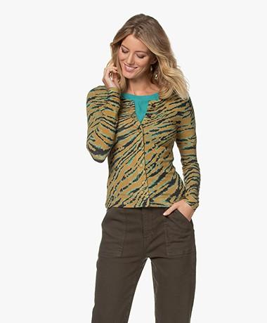 Kyra & Ko Papaver Knitted Print Cardigan - Light Olive