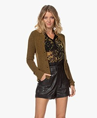 Kyra & Ko Kitty Rib Knitted Wool Blend Cardigan - Dark Olive