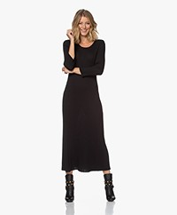 indi & cold Rib Knitted Fit & Flare Dress - Black