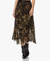 Kyra & Ko Silia Printed Chiffon Plisse Skirt - Dark Olive