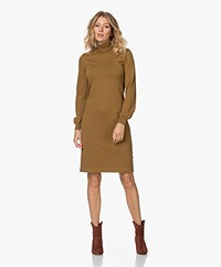 Kyra & Ko Heather Knitted Cotton Blend Turtleneck Dress - Dark Olive
