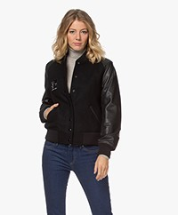 Zadig & Voltaire Birdie Baseball Jacket in Leather and Wool - Black