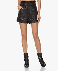 ba&sh Kate Leren Paperbag Short - Zwart