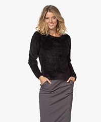 Kyra & Ko Pentas Feather Yarn Fluffy Sweater - Black