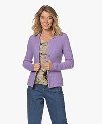 Kyra & Ko Kitty Rib Knitted Wool Blend Cardigan - Lavender