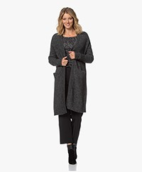 no man's land Long Open Mohair Blend Cardigan - Anthracite