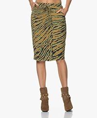 Kyra & Ko Sissel Knitted Print Skirt - Light Olive