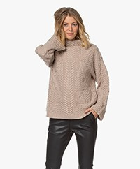 Repeat Luxury Cashmere Cable Knit Sweater - Sand
