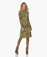 Kyra & Ko Ruth Knitted Print Dress with Tie-belt - Light Olive