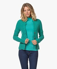 Kyra & Ko Kitty Rib Knitted Wool Blend Cardigan - Emerald