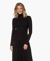 Repeat Rib Turtleneck Sweater in Cotton and Viscose - Black