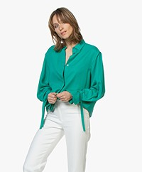 Repeat Tencel Blouse met Strikmanchetten - Emerald