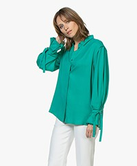 Repeat Tencel Tie Cuff Blouse - Emerald