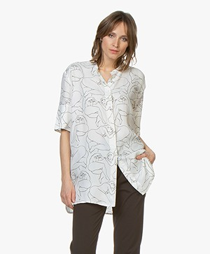 By Malene Birger Cupromix Tuniekblouse met Print - Soft White