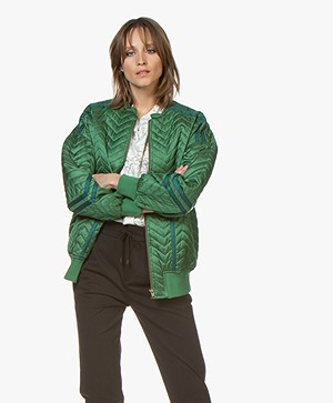 ba&sh Quest Quilted Bomber Jacket - Emerald Green