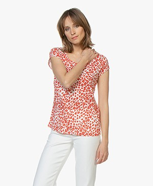 no man's land Linen T-Shirt with Leopard Print - Red