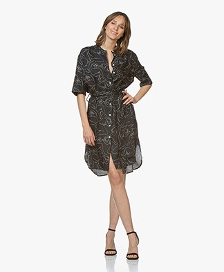 By Malene Birger Cupro Blend Dress with Print - Black