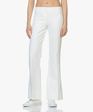 By Malene Birger Pan Flared Twill Pants - Soft White