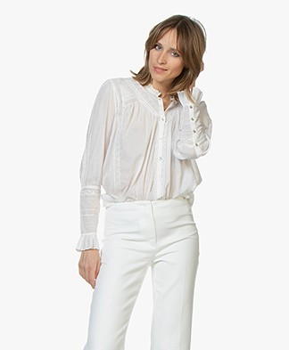 ba&sh Heiko Cotton Voile Blouse - Off-white