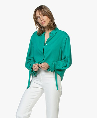 Repeat Tencel Blouse with Tie Cuffs - Emerald