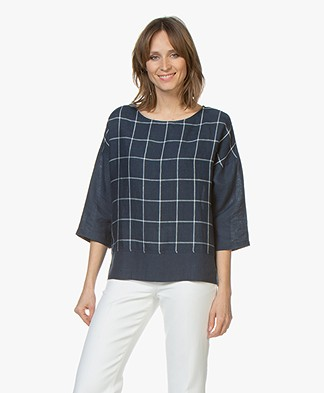 LaSalle Linen Blousetop with Check Pattern - Navy
