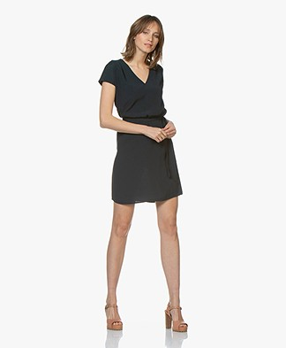 Marie Sixtine Bertilla Dress with Self-tie Belt - Prusse