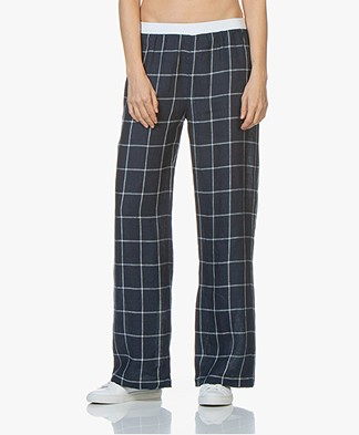 LaSalle Linen Pants with Check Pattern - Navy