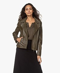 Repeat Luxury Leather Biker Jacket - Green