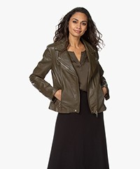 Repeat Luxury Leather Biker Jacket - Green