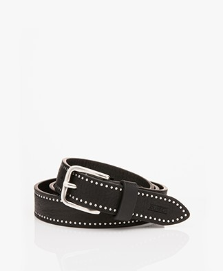 Closed Narrow Leather Belt with Studs - Black