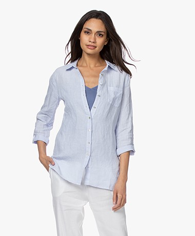 Belluna Biba Garment-dyed Linnen Blouse - Lichtblauw