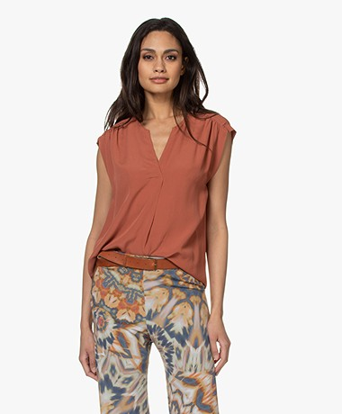 by-bar Star Viscose Crepe Top - Bricks