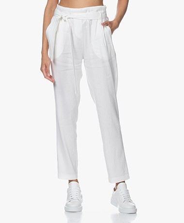 Woman by Earn Maddy Linen Blend Paperbag Pants - White