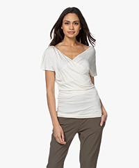 By Malene Birger Nimes V-neck Ribbed T-Shirt - Soft White