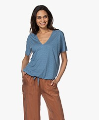 by-bar Donna Gestreept Drawstring T-shirt - Blauw/Grijs