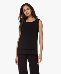 no man's land Layered Crepe Jersey Top - Core Black