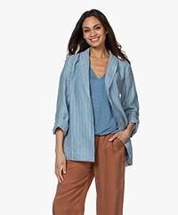 Josephine & Co Bay Linen Pinstripe Blazer - Sky Blue