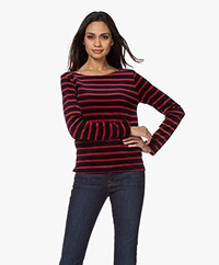 Majestic Filatures Striped Velvet Long Sleeve - Marine/Cherry