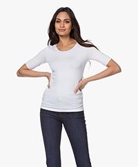 Majestic Filatures Superwashed T-shirt met Halflange Mouwen - Wit